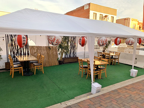 Bishamon tent outdoor dining 1