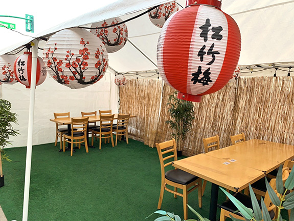 Bishamon tent outdoor dining 2