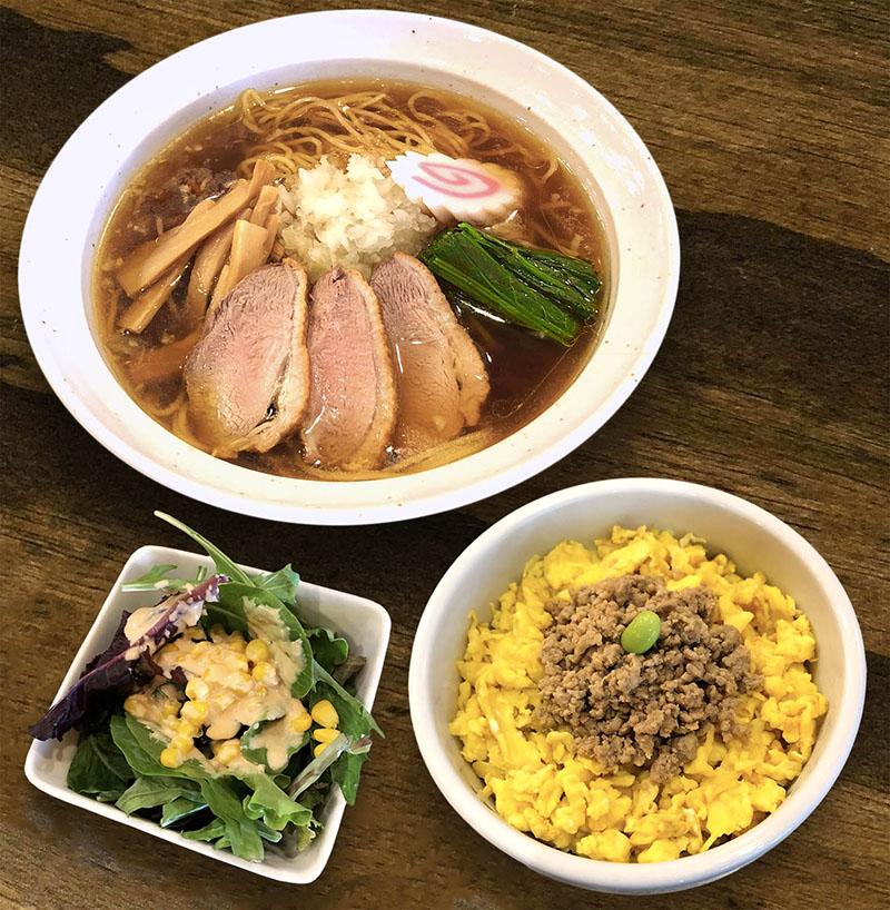 Combination Ramen, Rice Bowl, Salad